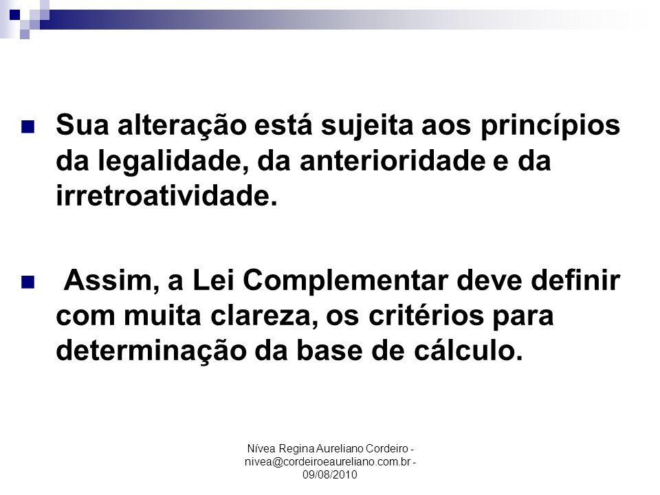 Base de Cálculo Sua alteração está sujeita aos princípios da legalidade, da anterioridade e da irretroatividade.
