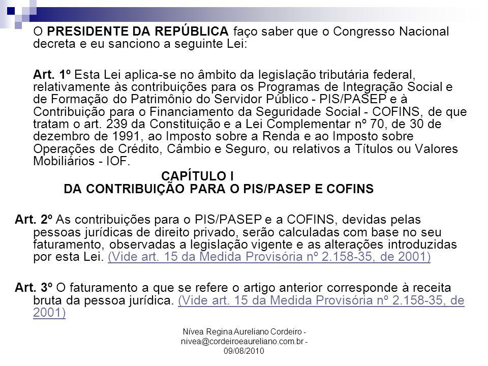 CAPÍTULO I DA CONTRIBUIÇÃO PARA O PIS/PASEP E COFINS