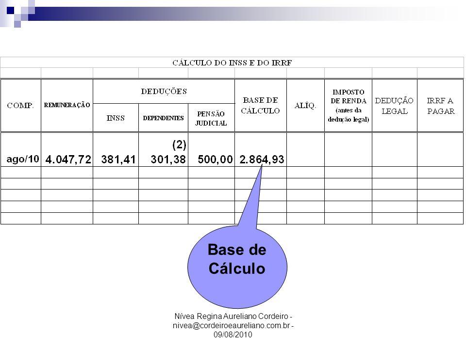 Base de Cálculo Nívea Regina Aureliano Cordeiro - nivea@cordeiroeaureliano.com.br - 09/08/2010