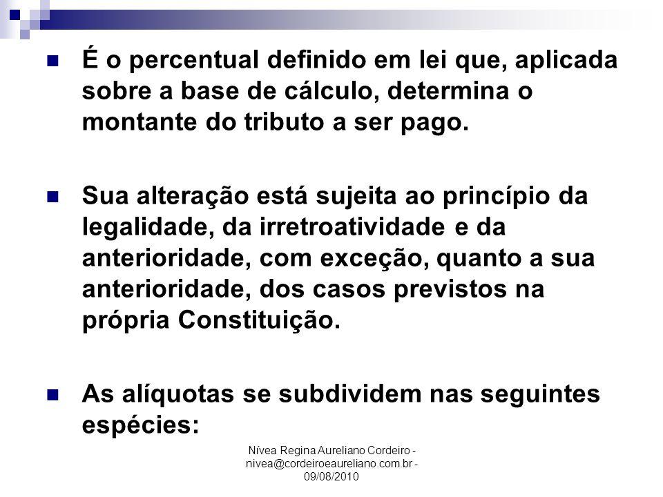 É o percentual definido em lei que, aplicada sobre a base de cálculo, determina o montante do tributo a ser pago.