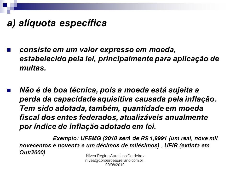 a) alíquota específica