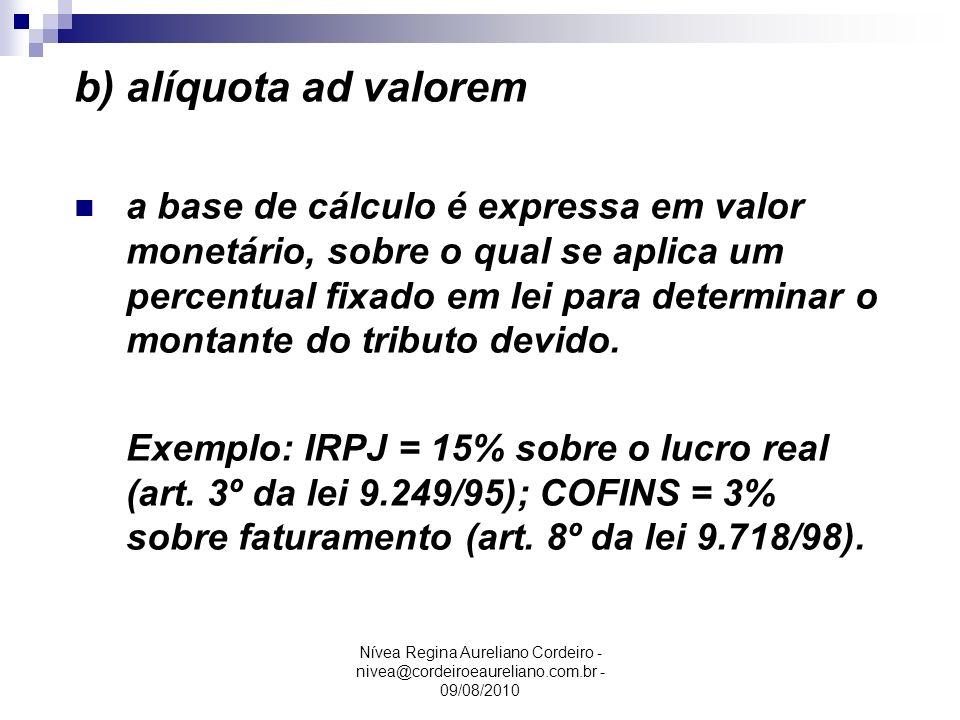 b) alíquota ad valorem