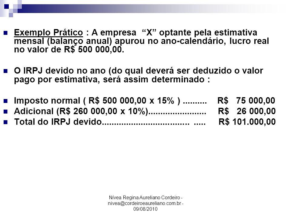 Imposto normal ( R$ 500 000,00 x 15% ) .......... R$ 75 000,00