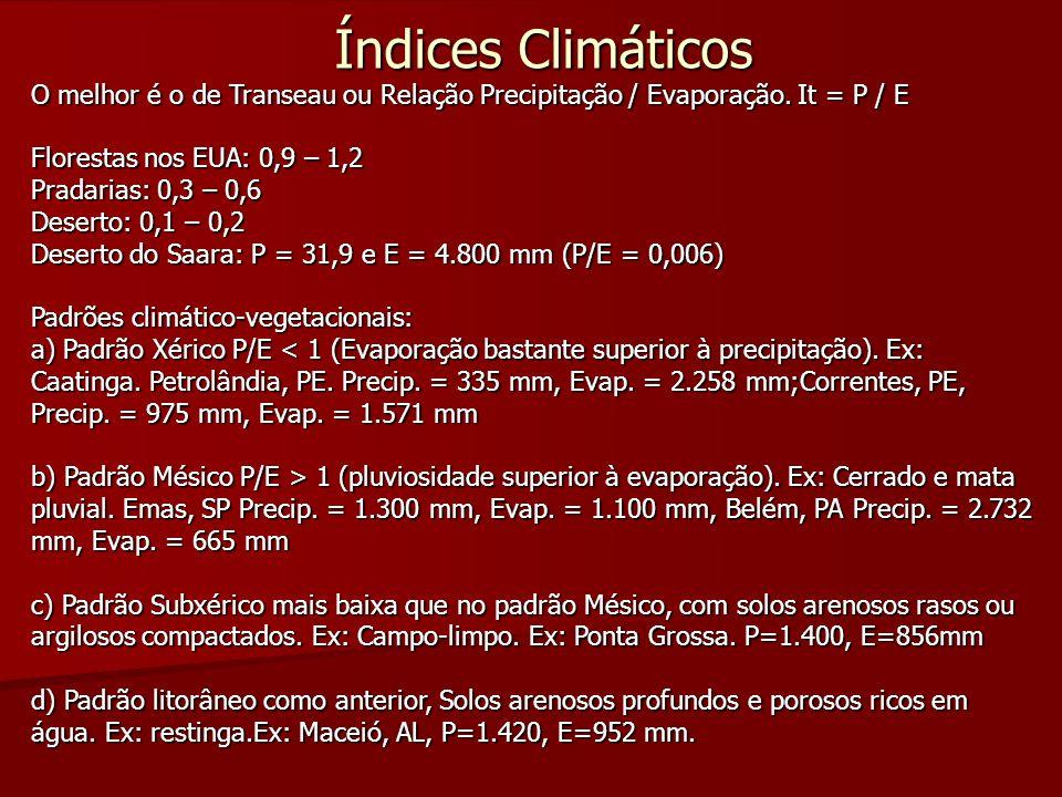 Índices Climáticos O melhor é o de Transeau ou Relação Precipitação / Evaporação. It = P / E. Florestas nos EUA: 0,9 – 1,2.