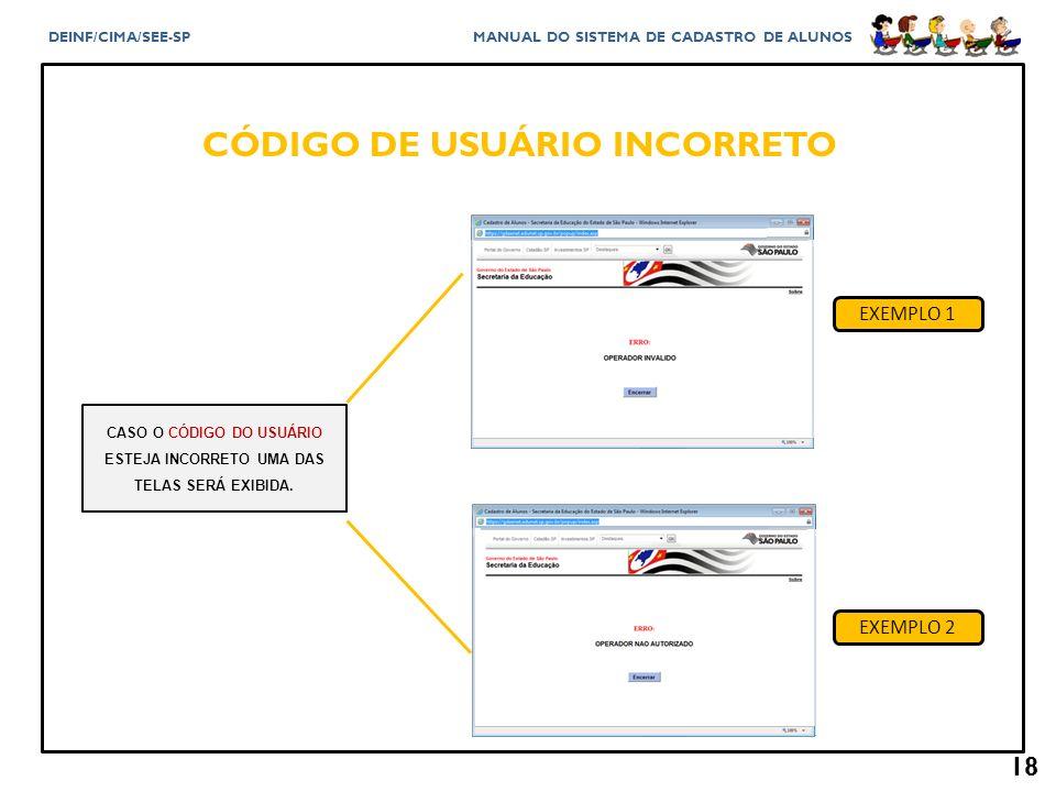 CÓDIGO DE USUÁRIO INCORRETO