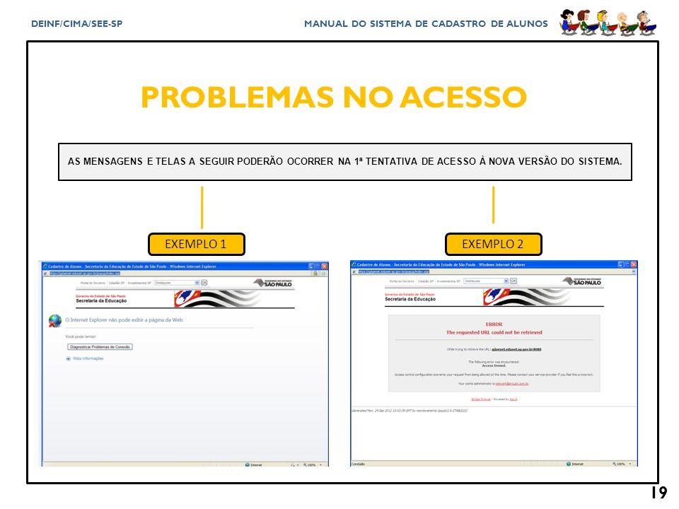 PROBLEMAS NO ACESSO EXEMPLO 1 EXEMPLO 2