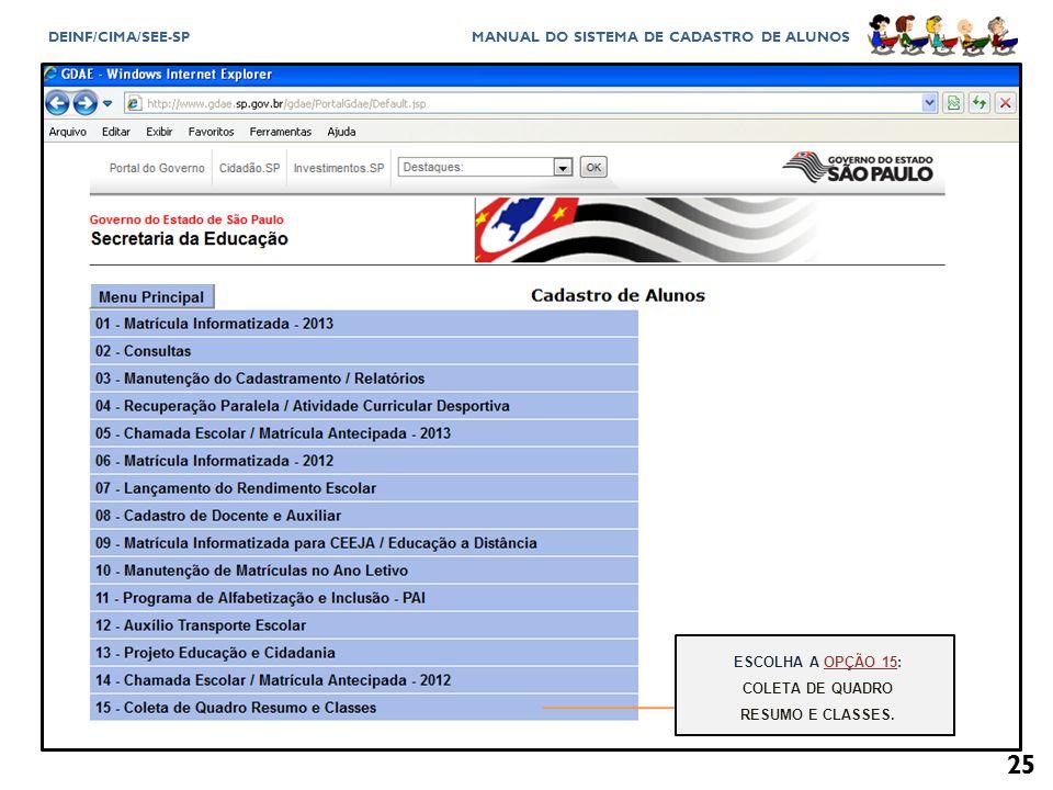 COLETA DE QUADRO RESUMO E CLASSES.