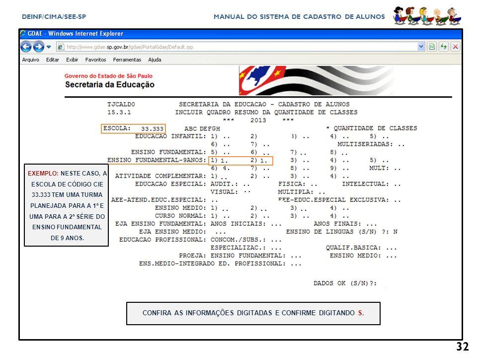 CONFIRA AS INFORMAÇÕES DIGITADAS E CONFIRME DIGITANDO S.