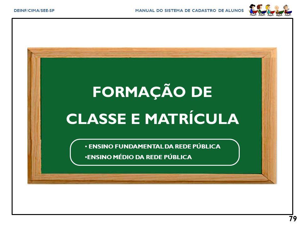 FORMAÇÃO DE CLASSE E MATRÍCULA