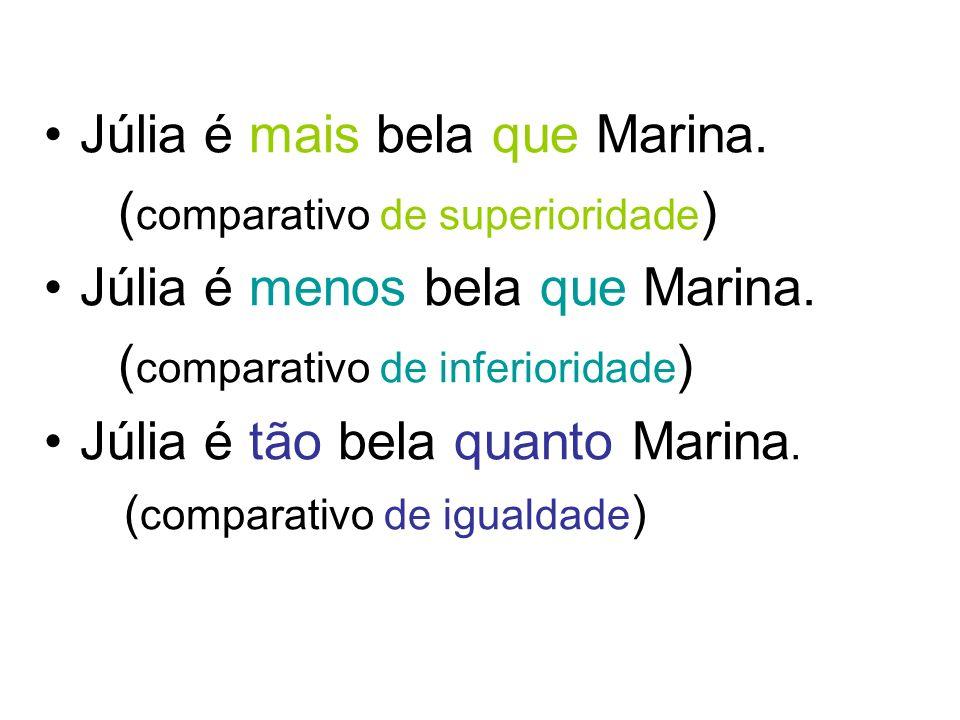 Júlia é mais bela que Marina. (comparativo de superioridade)