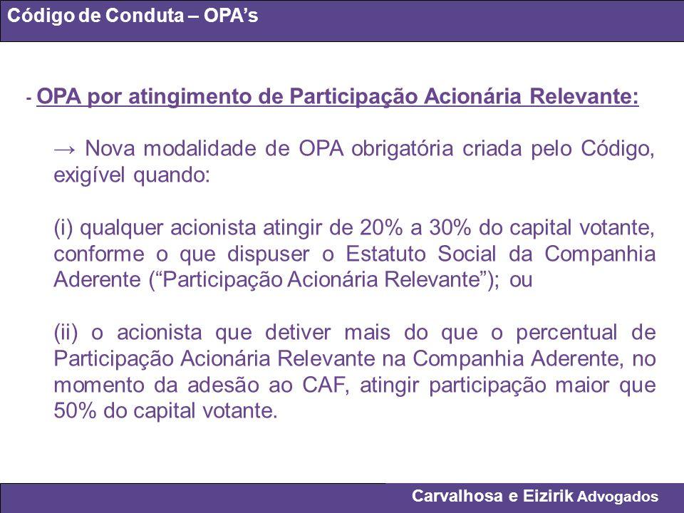 Código de Conduta – OPA's