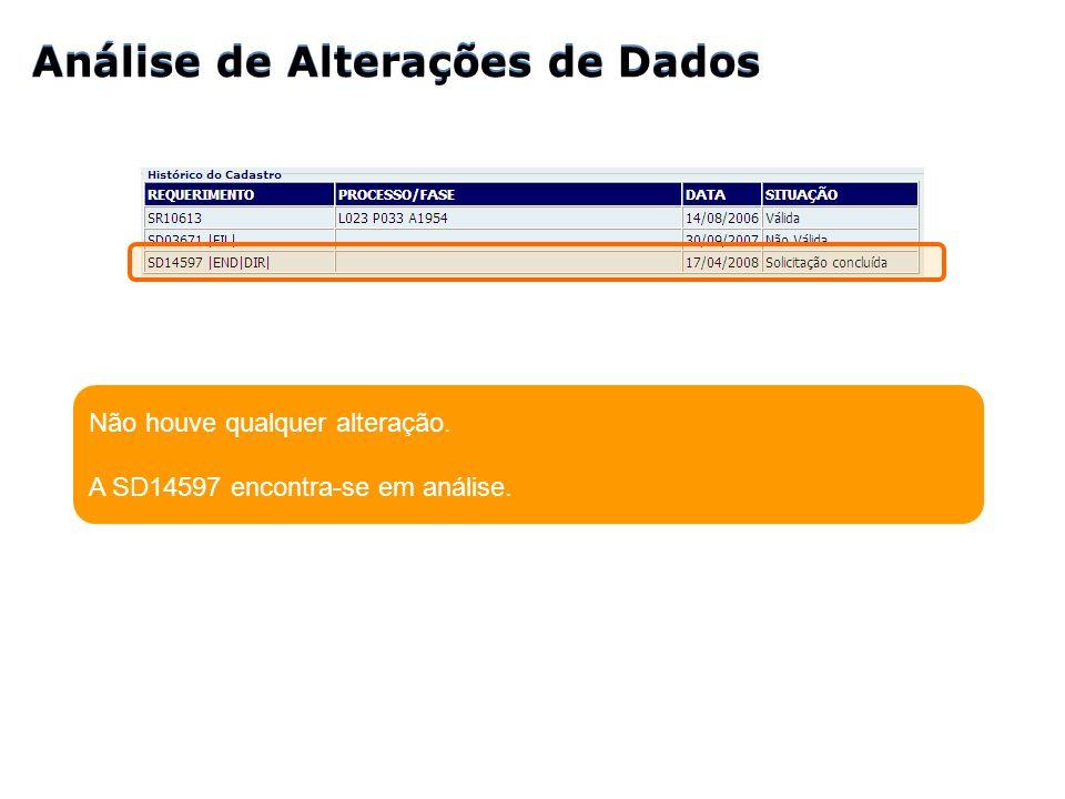 Análise de Alterações de Dados Análise de Alterações de Dados