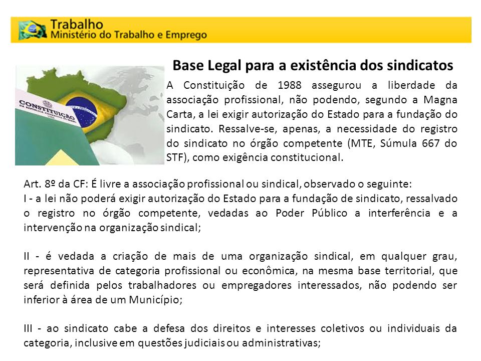 Base Legal para a existência dos sindicatos