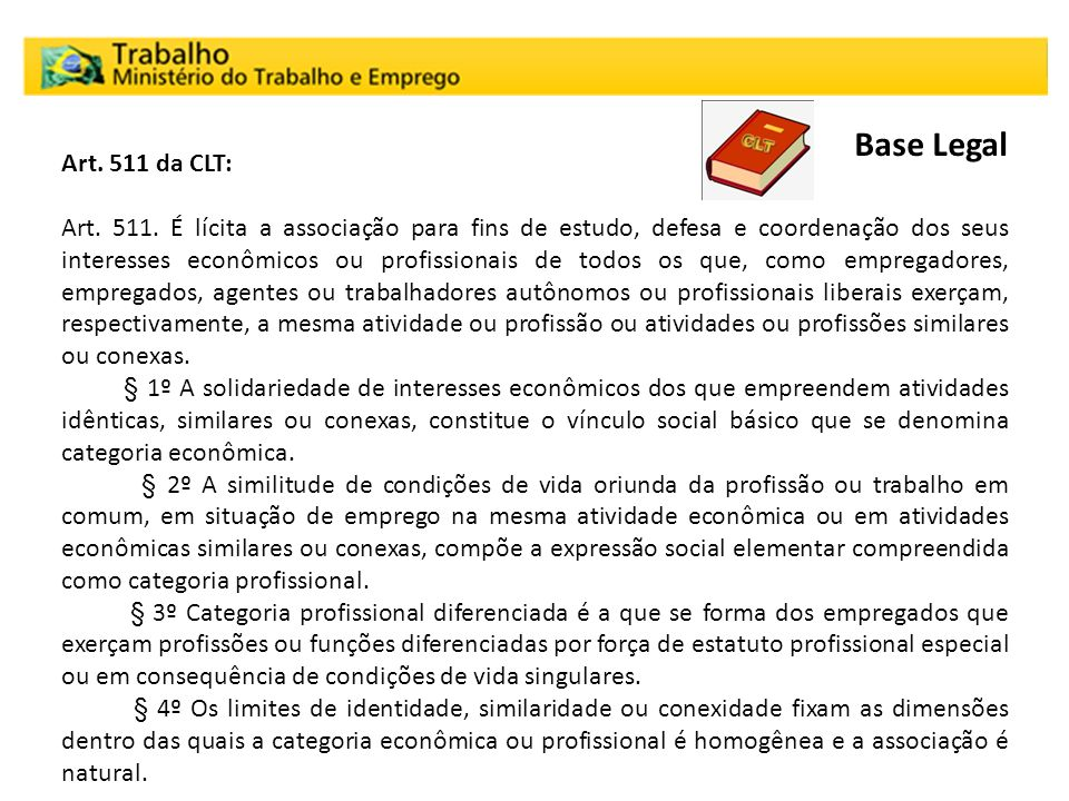Base Legal Art. 511 da CLT: