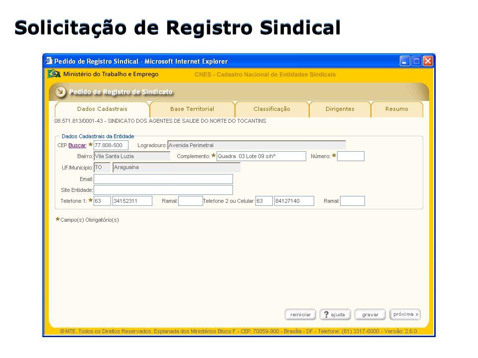 Solicitação de Registro Sindical