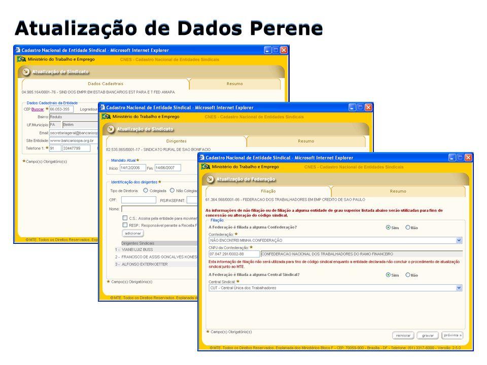 Atualização de Dados Perene Atualização de Dados Perene