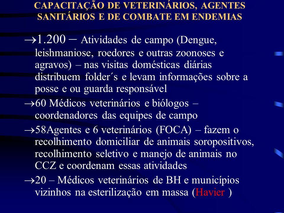 CAPACITAÇÃO DE VETERINÁRIOS, AGENTES SANITÁRIOS E DE COMBATE EM ENDEMIAS