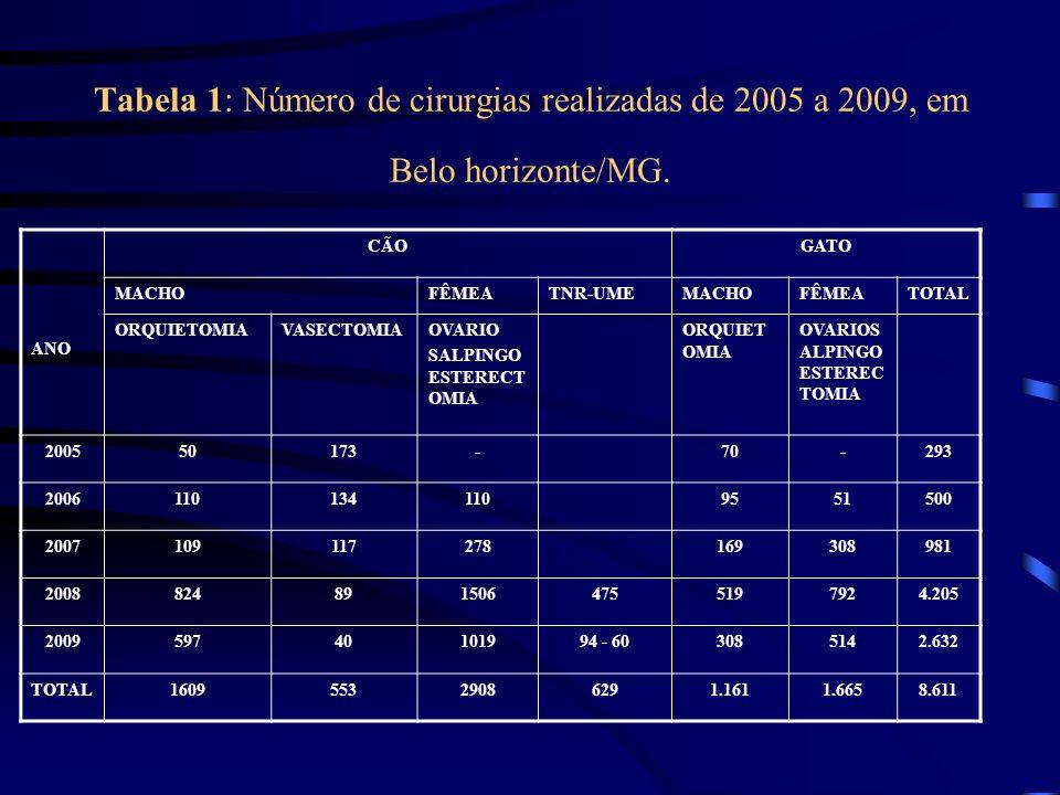 Tabela 1: Número de cirurgias realizadas de 2005 a 2009, em Belo horizonte/MG.
