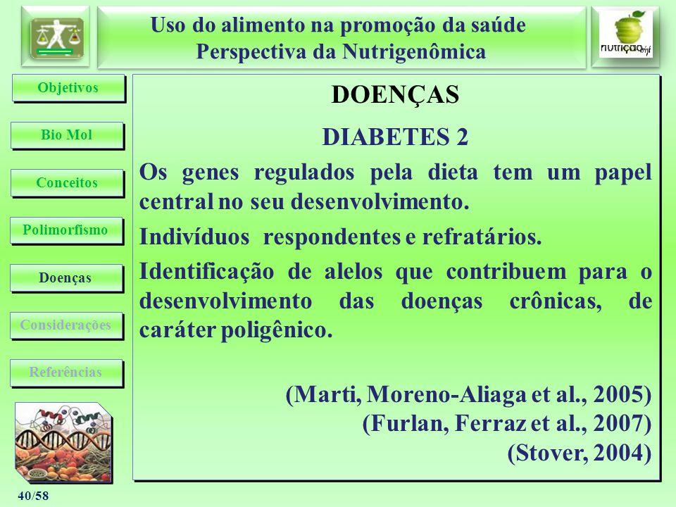 Objetivos DOENÇAS. DIABETES 2. Os genes regulados pela dieta tem um papel central no seu desenvolvimento.