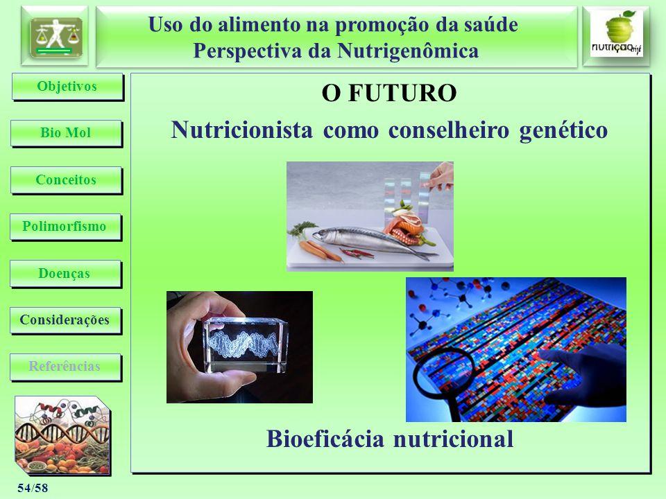 Nutricionista como conselheiro genético Bioeficácia nutricional