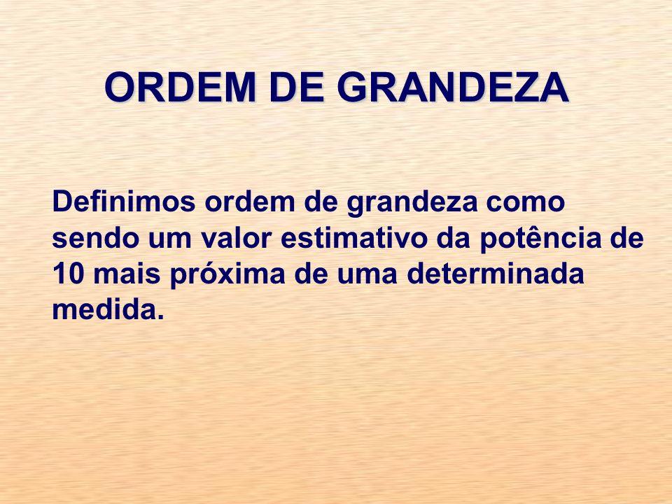ORDEM DE GRANDEZADefinimos ordem de grandeza como sendo um valor estimativo da potência de 10 mais próxima de uma determinada medida.