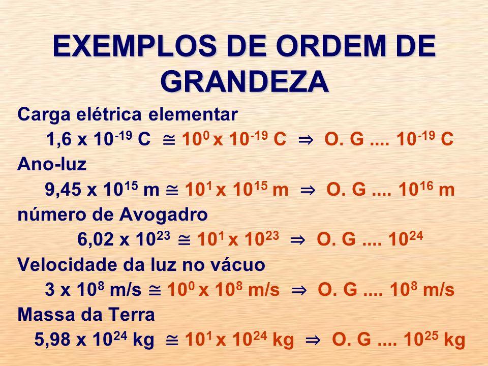 EXEMPLOS DE ORDEM DE GRANDEZA