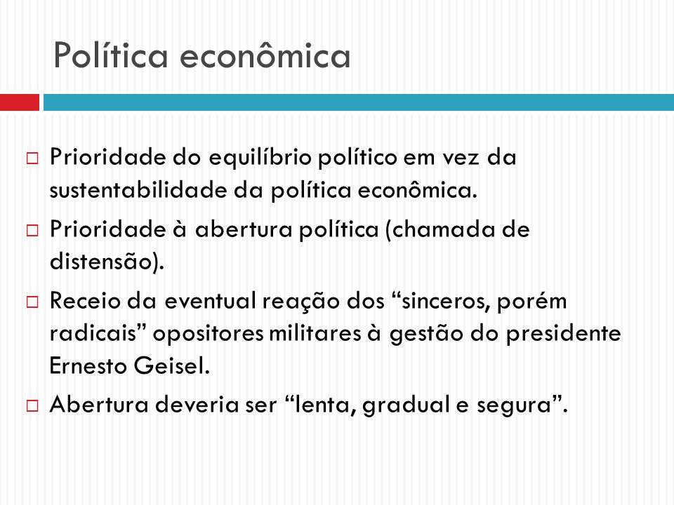 Política econômica Prioridade do equilíbrio político em vez da sustentabilidade da política econômica.