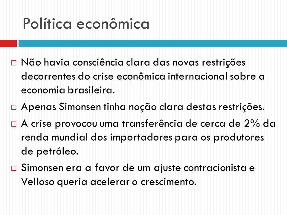 Política econômica Não havia consciência clara das novas restrições decorrentes do crise econômica internacional sobre a economia brasileira.