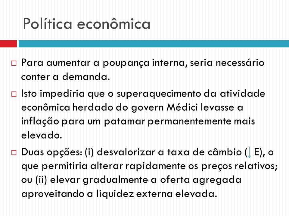 Política econômica Para aumentar a poupança interna, seria necessário conter a demanda.