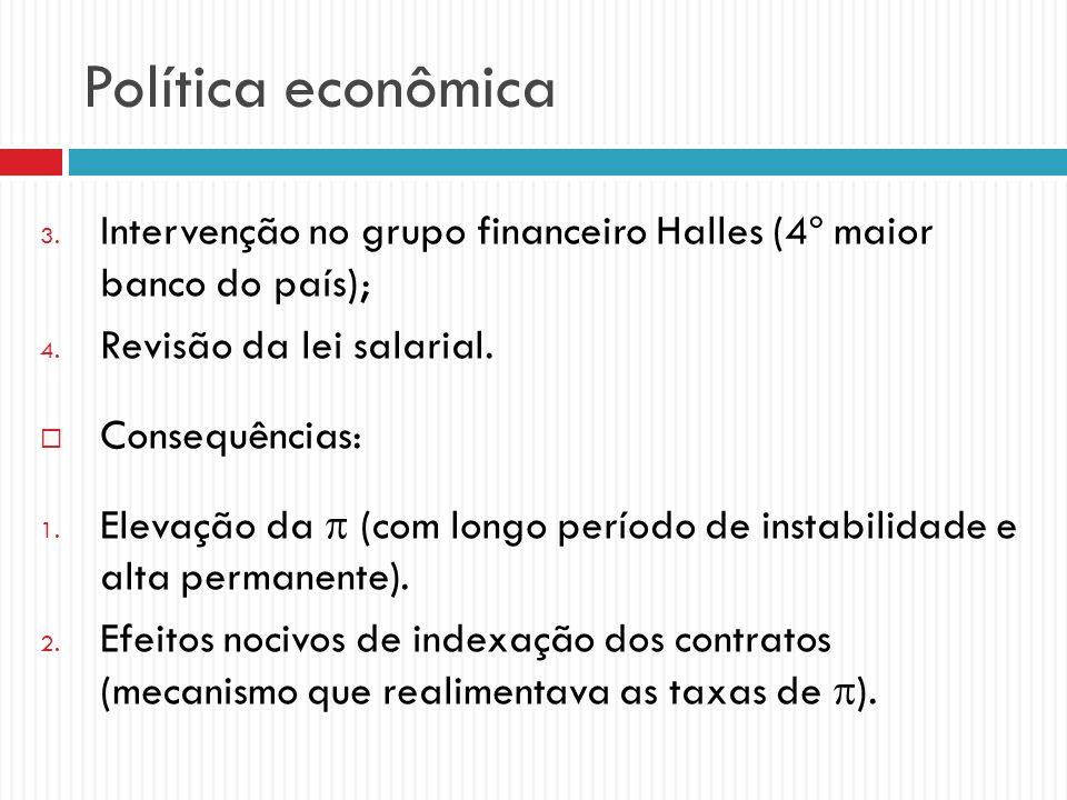 Política econômica Intervenção no grupo financeiro Halles (4º maior banco do país); Revisão da lei salarial.
