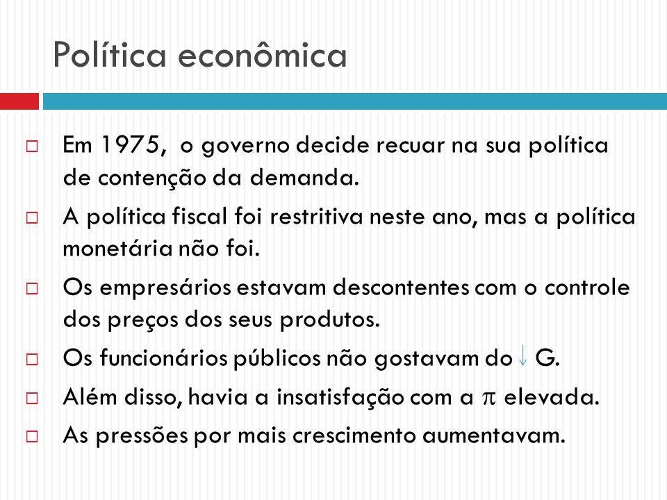 Política econômica Em 1975, o governo decide recuar na sua política de contenção da demanda.