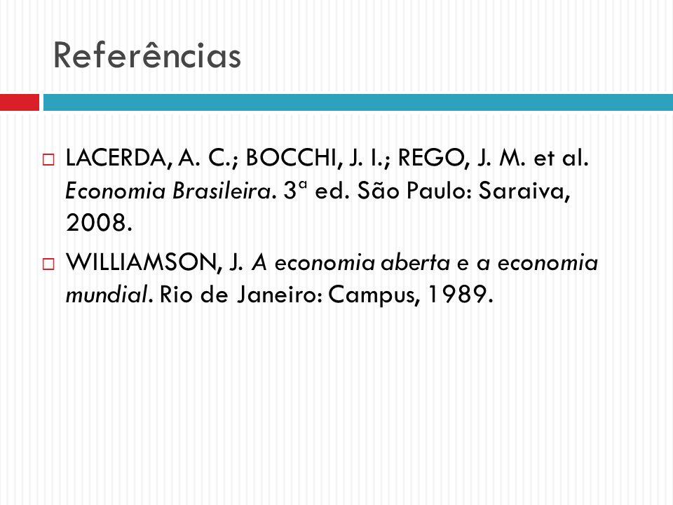 Referências LACERDA, A. C.; BOCCHI, J. I.; REGO, J. M. et al. Economia Brasileira. 3ª ed. São Paulo: Saraiva, 2008.