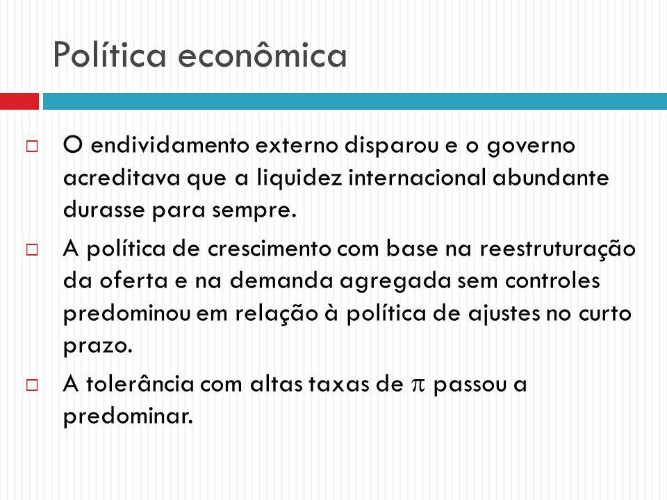 Política econômica O endividamento externo disparou e o governo acreditava que a liquidez internacional abundante durasse para sempre.
