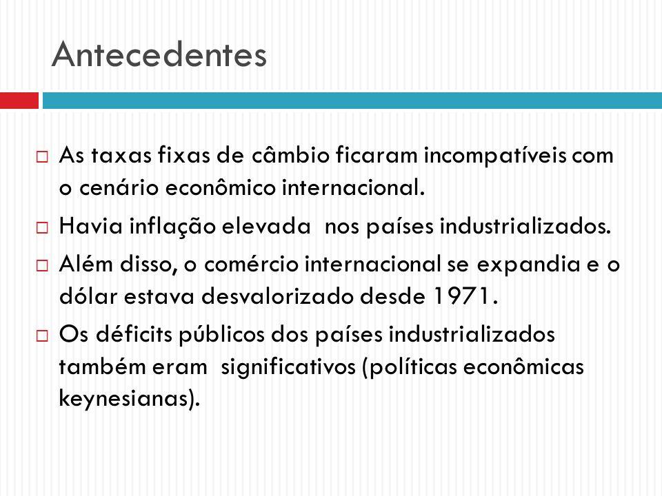 Antecedentes As taxas fixas de câmbio ficaram incompatíveis com o cenário econômico internacional.