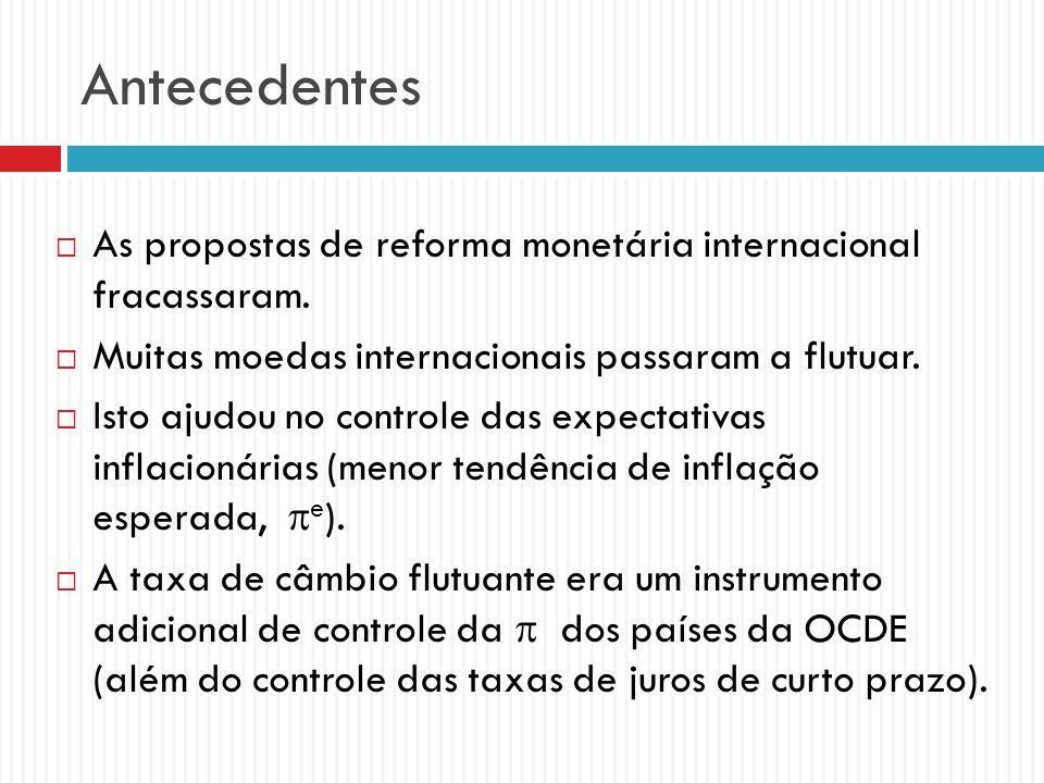 Antecedentes As propostas de reforma monetária internacional fracassaram. Muitas moedas internacionais passaram a flutuar.