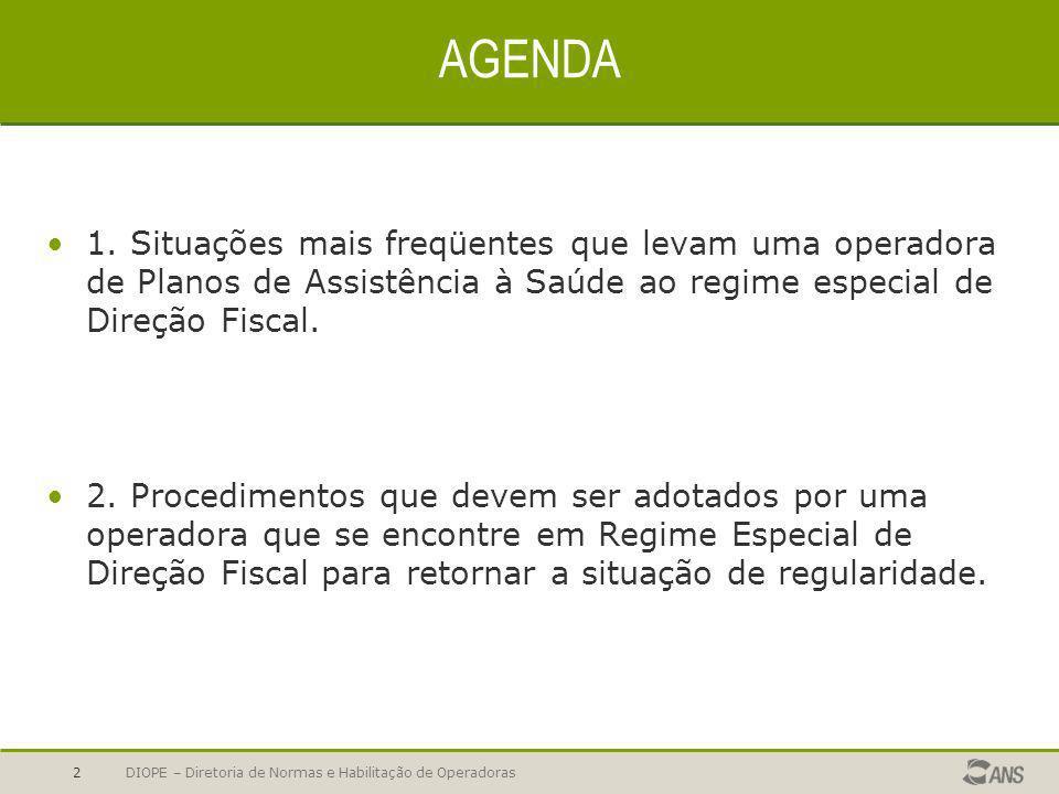 AGENDA1. Situações mais freqüentes que levam uma operadora de Planos de Assistência à Saúde ao regime especial de Direção Fiscal.