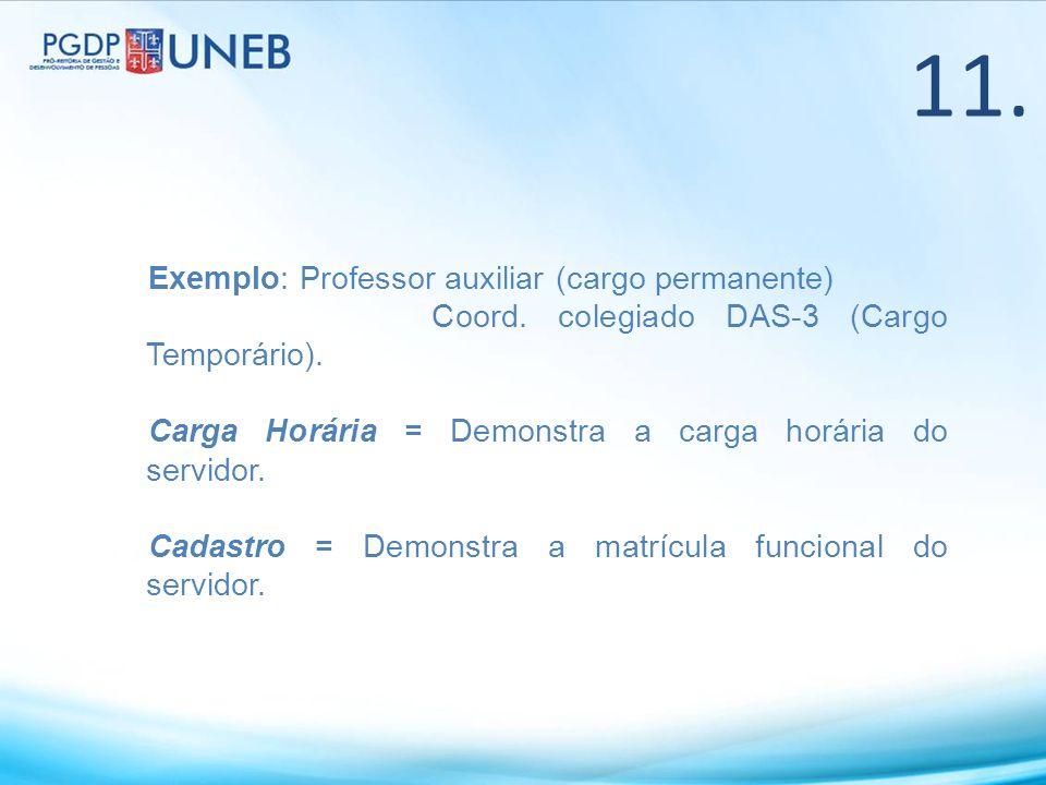 11. Exemplo: Professor auxiliar (cargo permanente)