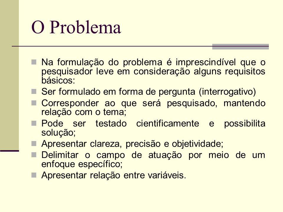 O Problema Na formulação do problema é imprescindível que o pesquisador leve em consideração alguns requisitos básicos: