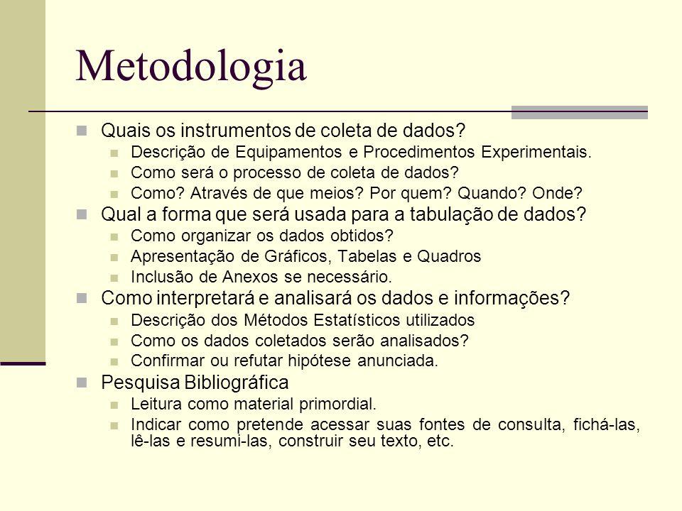 Metodologia Quais os instrumentos de coleta de dados