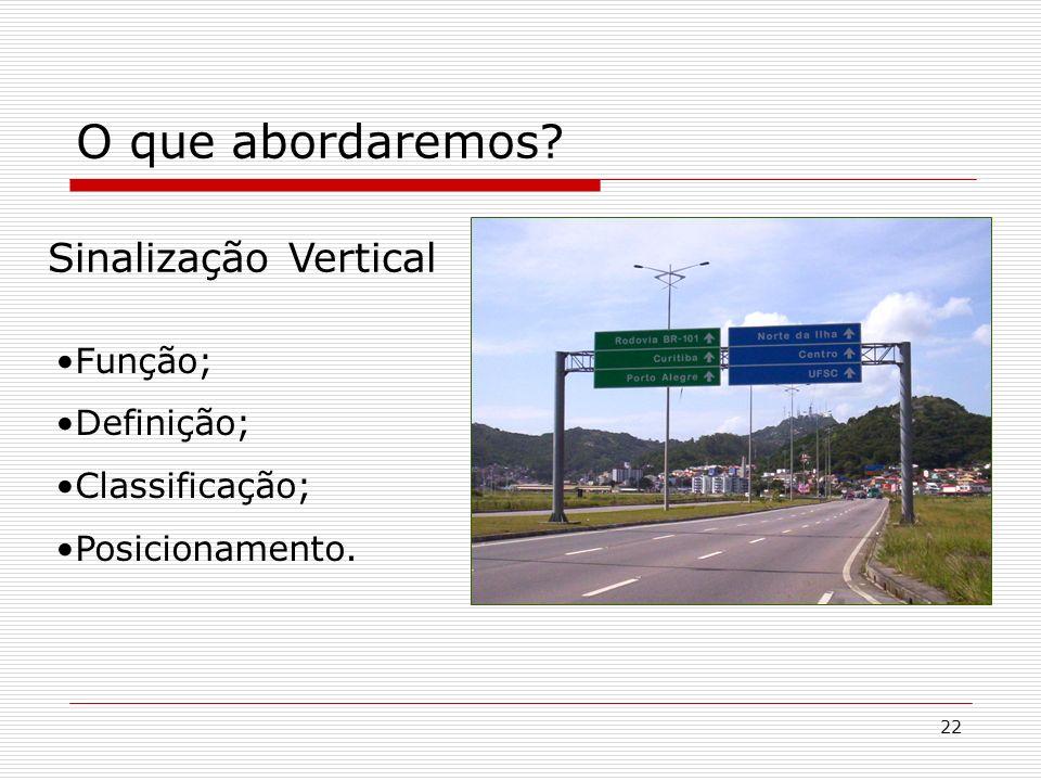 O que abordaremos Sinalização Vertical Função; Definição;