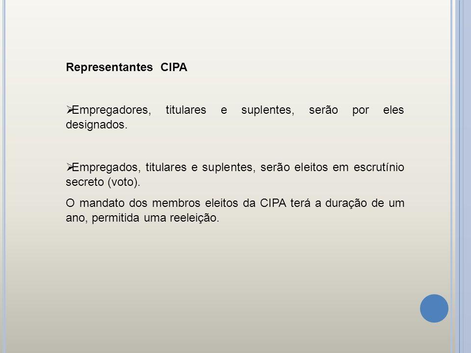 Representantes CIPA Empregadores, titulares e suplentes, serão por eles designados.
