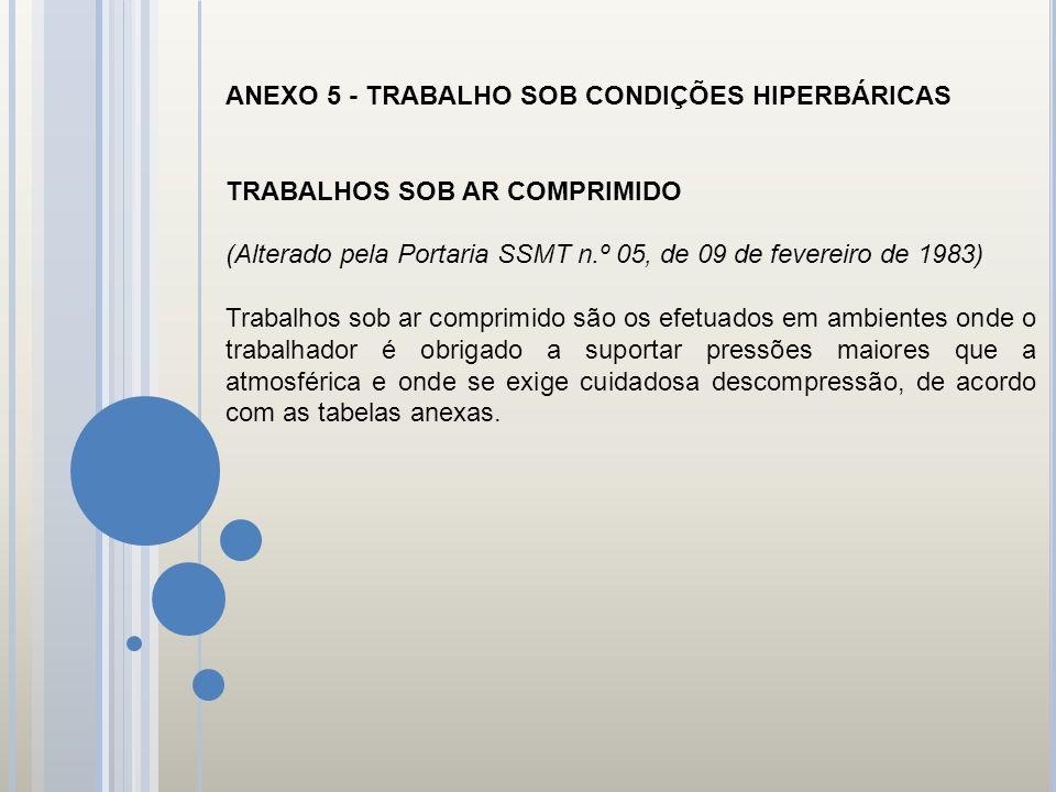 ANEXO 5 - TRABALHO SOB CONDIÇÕES HIPERBÁRICAS
