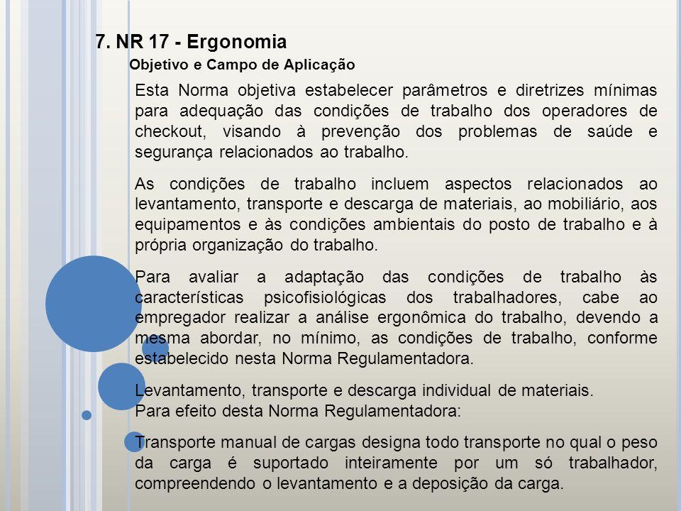 7. NR 17 - Ergonomia Objetivo e Campo de Aplicação.