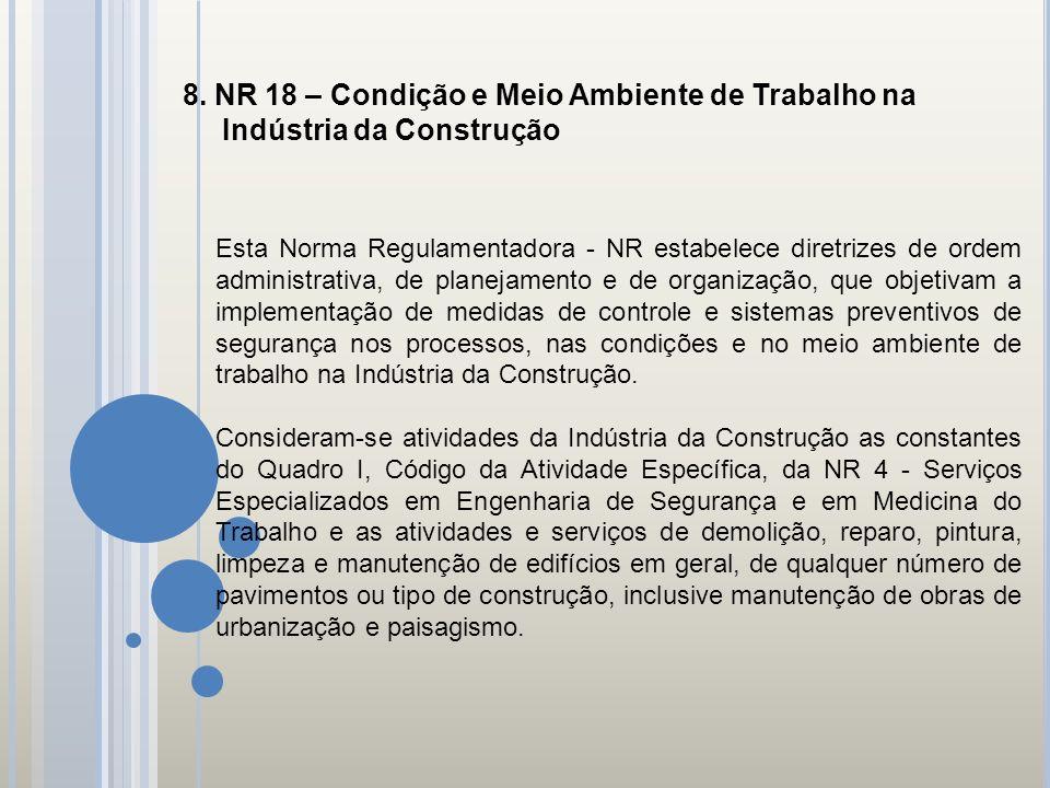 8. NR 18 – Condição e Meio Ambiente de Trabalho na Indústria da Construção