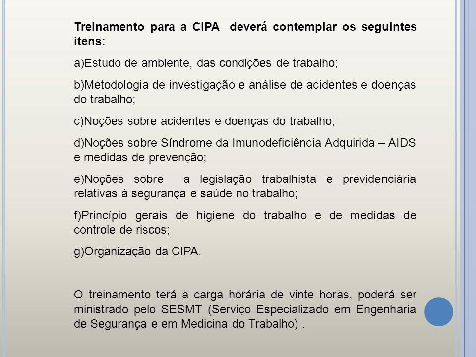 Treinamento para a CIPA deverá contemplar os seguintes itens: