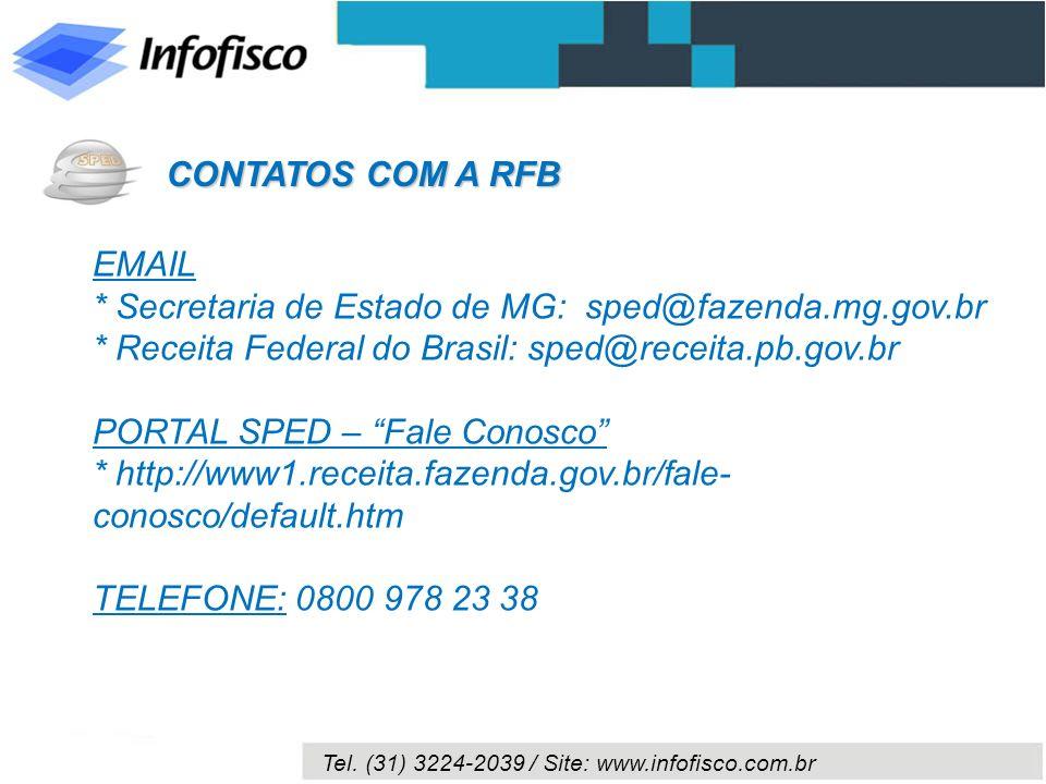 CONTATOS COM A RFBEMAIL. * Secretaria de Estado de MG: sped@fazenda.mg.gov.br. * Receita Federal do Brasil: sped@receita.pb.gov.br.