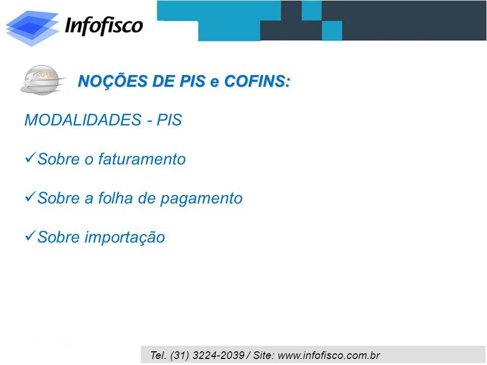 NOÇÕES DE PIS e COFINS:MODALIDADES - PIS.Sobre o faturamento.