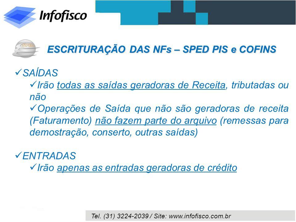 ESCRITURAÇÃO DAS NFs – SPED PIS e COFINS