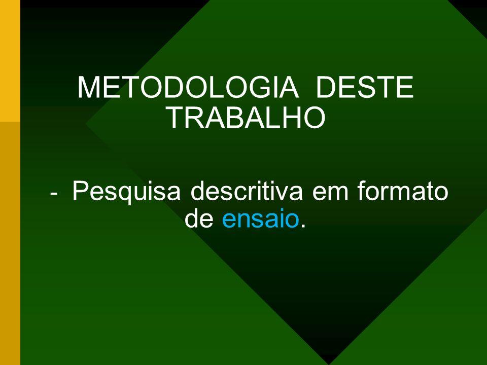 METODOLOGIA DESTE TRABALHO - Pesquisa descritiva em formato de ensaio.
