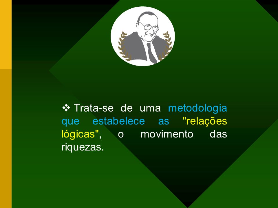 Trata-se de uma metodologia que estabelece as relações lógicas , o movimento das riquezas.